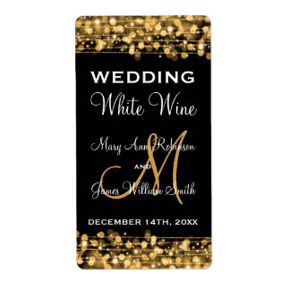 Wedding Wine Label Party Sparkles Gold Shipping Label