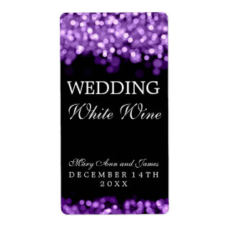 Wedding Wine Label Purple Lights Shipping Label