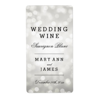 Wedding Wine Label Silver Glitter Lights Shipping Label