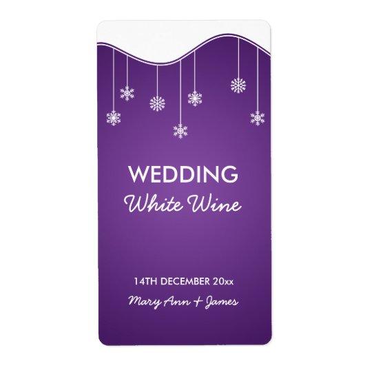 Wedding Wine Label Snowflake Decoration Purple Shipping Label