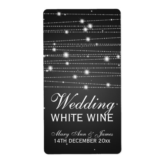 Wedding Wine Label Sparkling Lines Black