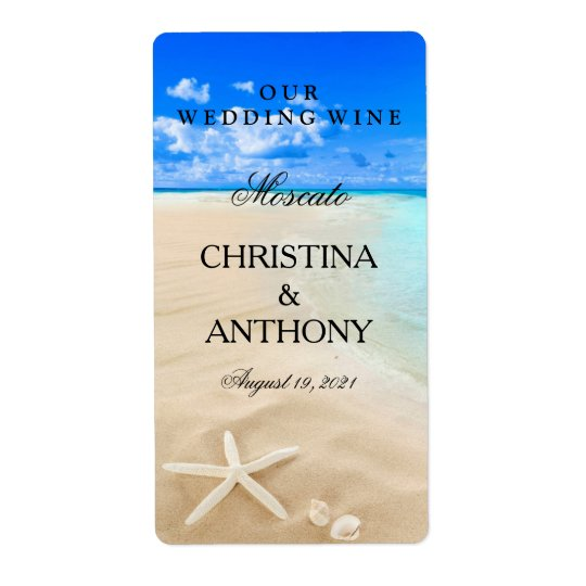 Wedding Wine Label Starfish Destination Beach Shipping Label