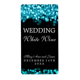 Wedding Wine Label Turquoise Lights Shipping Label