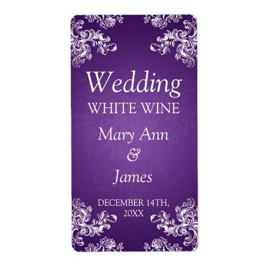 Wedding Wine Label Vintage Swirls 2 Purple