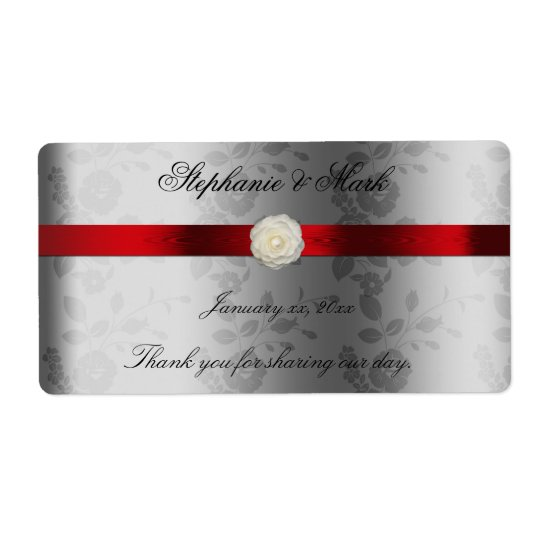 Wedding Wine Label with Red Ribbon on Silver