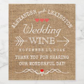 Wedding Wine Rustic Country Burlap Look Wine Label