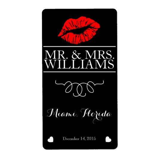 wedding wine table wine bottle label lips glitter shipping label