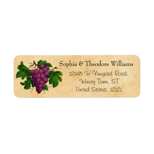 Wedding Wine | Tasting Party Vintage Purple Grapes Return Address Label