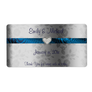 Wedding Wine / Water Label, Blue and Silver, Heart