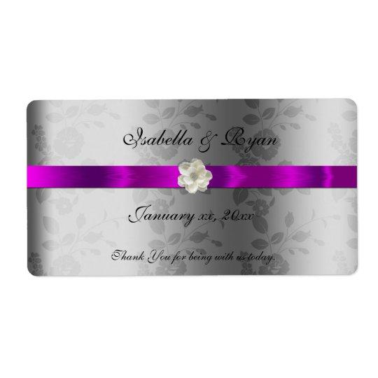 Wedding Wine/ Water Label  Purple Ribbon &  Flower