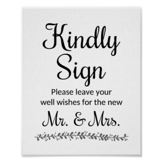 Wedding Wishes For New Mr and Mrs Sign - Rochester