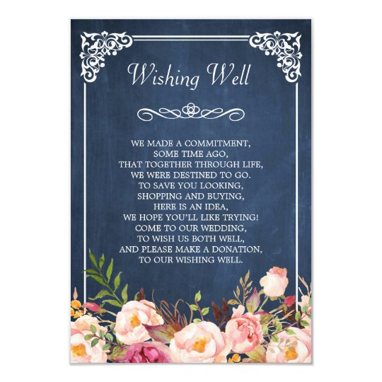 Wedding Wishing Well Blue Chalkboard Pink Floral Card