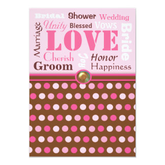 "Wedding Words of Love Pink and Brown Bridal Shower 5"" X 7"" Invitation Card"