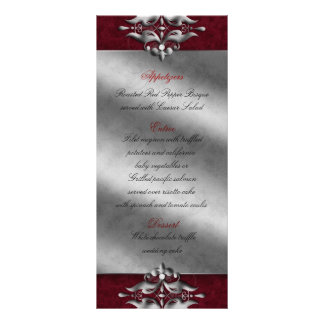 Wedding Xmas Menu Cards Jewels Red Silver