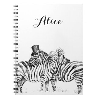 Wedding zebras spiral notebooks
