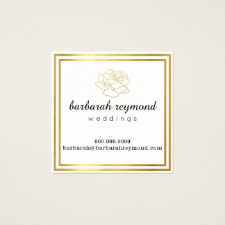 weddings (custom profession) chic flower white square business card