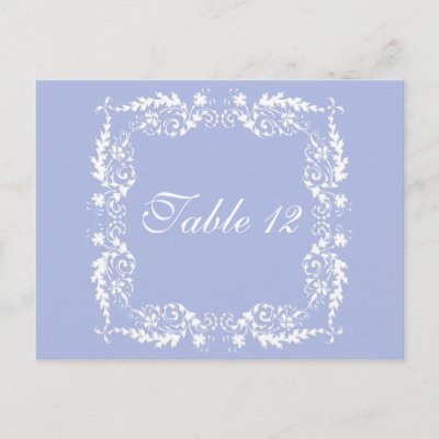 Wedgewood Blue 2 Wedding Reception Table Numbers Postcard by AnElegantAffair