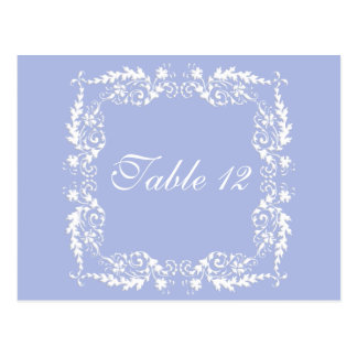 Wedgewood Blue 2 Wedding Reception Table Numbers Postcard