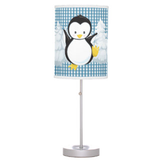 Wedgewood Blue Gingham•Penguin•Nursery Table Lamp