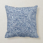 Wedgewood Blue Vintage Tin Tile Look Rustic Home Throw Pillow