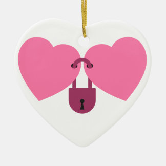 wedlock - two hearts locked with the lock ceramic heart ornament