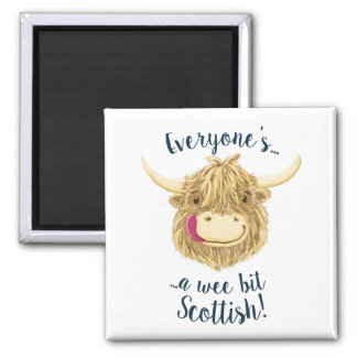 Wee Hamish Highland Cow Says Everyone's Scottish! Magnet