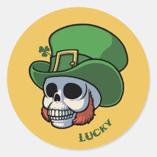Wee Leprechaun Skull Classic Round Sticker