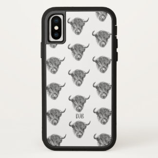 Wee Straggly Highland Cow (white) iPhone X Case