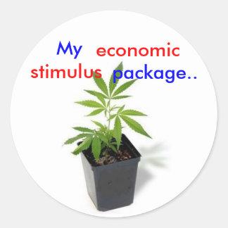 weed[1], My, package.., economic, stimulus Round Sticker