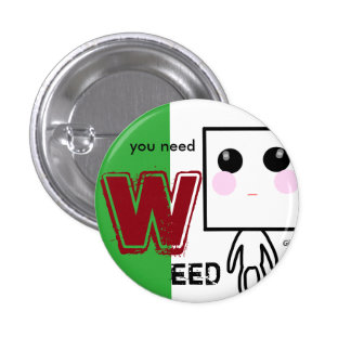WEED can badge RED 1 Inch Round Button