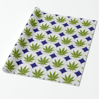 Weed Leaf on White and Midnight Blue Diamonds Wrapping Paper