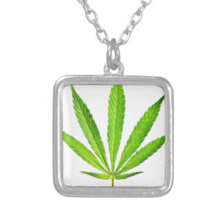 WEED LEAF SILVER PLATED NECKLACE