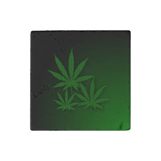 Weed Leafs Emerald Green Stone Magnet
