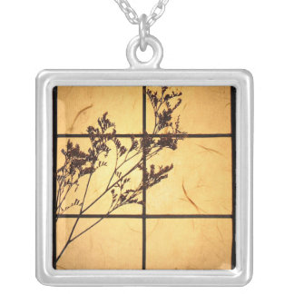 Weeds on Rice Paper Silver Plated Necklace