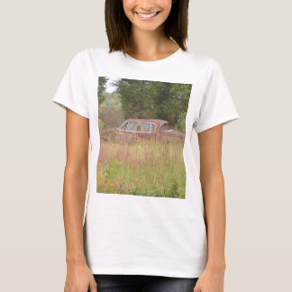 Weeds & Rusted Car Growing in a Field T-Shirt