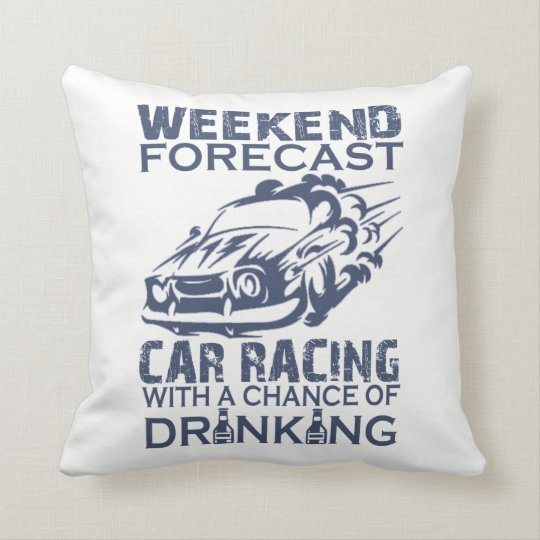 WEEKEND FORECAST CAR RACING THROW PILLOW
