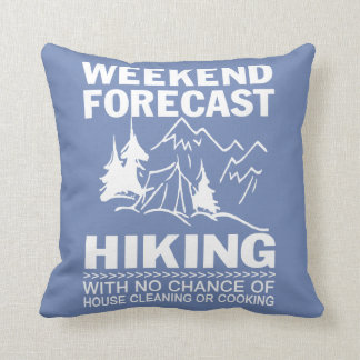 Weekend forecast hiking throw pillow
