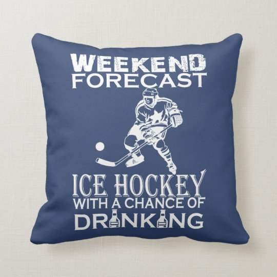 WEEKEND FORECAST HOCKEY THROW PILLOW
