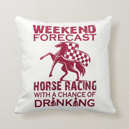 WEEKEND FORECAST HORSE RACING THROW PILLOW