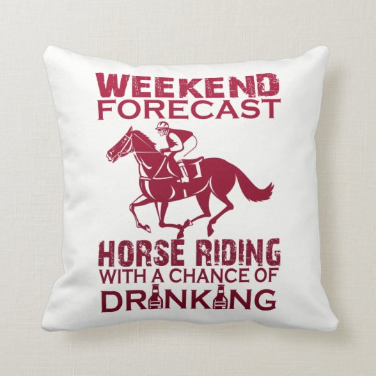 WEEKEND FORECAST HORSE RIDING THROW PILLOW