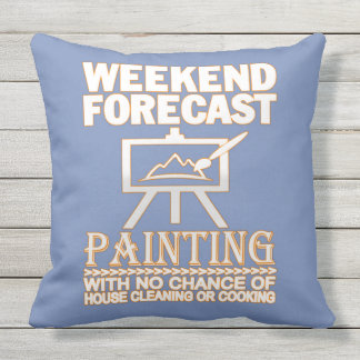 WEEKEND FORECAST PAINTING THROW PILLOW