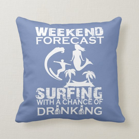 WEEKEND FORECAST SURFING THROW PILLOW