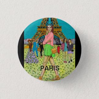 WEEKEND IN PARIS 1 INCH ROUND BUTTON