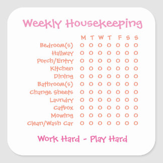 Weekly Chores List Square Sticker