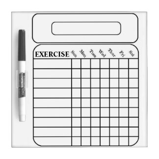 WEEKLY EXERCISE CHART DRY ERASE BOARD
