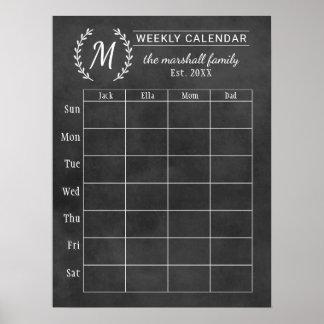 Weekly Family Calendar | Chalkboard Monogram Poster