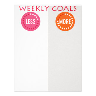 Weekly Goals More/Less Planner Letterhead