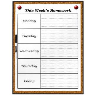 Weekly Homework Schedule Dry Erase Board *Updated*