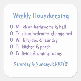 Weekly Housekeeping Tasks Square Sticker