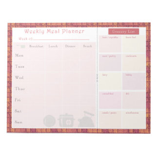 Weekly Meal Planner Autumn Metal Notepad